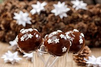 Chocolate cake pops decorated with stars