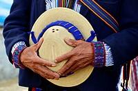 Hands holding hat, Todos Santos Cuchumatan, Guatemala, Central America.