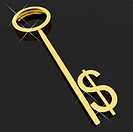 Gold Key With Dollar Sign As Symbol For Money Or Investment