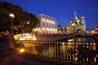 The Church of the Savior on Blood on the Griboedov Canal at dusk, Saint Petersburg, Russia.
