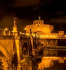 Ponte Sant'Angelo and Castel Sant'Angelo at night, Tiber River, Tevere, Rome, Lazio, Italy