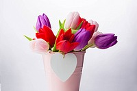 Bunch of tulips and heart card
