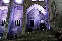 Light artistic installation, Plaça del Rei, BCN Llum 2015, Barcelona, Catalonia, Spain