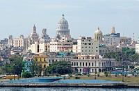 View of the Capitol, El Capitolio and the historic centre, La Cabaña, Havana, Ciudad de La Habana, Cuba