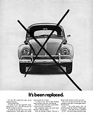 AD: VOLKSWAGEN, 1967. /nAmerican advertisement for the Volkswagen Bug. Photograph, 1967.