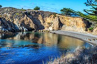 View of the ocean and rocky coastline at the Point Lobos State Reserve, California, United States.