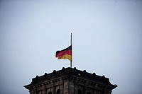 (150325) -- BERLIN, March 25, 2015 () -- A German national flag flies at half mast on the Reichstag building (the lower house of parliament) to commem...