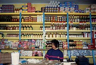 Woman behind counter in general store in front of goods on shelves behind her