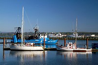 Waterfront and harbor at Yaquina Bay in Newport, Oregon, USA.