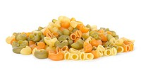 Mix of pasta isolated on a white background