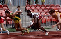 Competitors in mens track event at school championships.