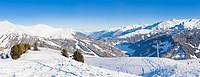 Winter landscape - Panorama of the ski resort Zell am Ziller, Tirol, Austria