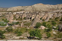 Pasabag. Volcanic tufa landscape with multiple group of fairy chimney rock formations.