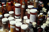 bottles with jam in the market, Grenada, St. Georges - St. Georges, Grenada, 01/01/2014