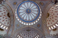 Sultanahmet Camii The Blue Mosque interior with decorated painted domes.