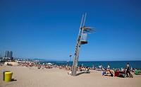 Playa de St Sebastia, Barceloneta Beach, Empty Lifeguard lookoput station.