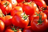 Fresh organic tomatoes on the street stall.