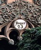 D-Erfurt, Gera, Gera Valley, Thueringer Becken, Steigerwald, Thuringia, residential building Anger 23, detail, artfully adorned, house number - Erfurt...