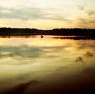sunset lake nature panorama