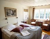 Room at Väderöarnas Värdshus hotel, Vaderoarna, (The Weather Islands) archipelago, bohuslan region, west coast, Sweden.