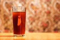 glass with carbonated drink