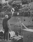 'Mr. Churchill responds to the cheers from the crew of HMS Prince of Wales on disembarking at a British port after his return from the Atlantic confer...