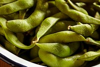 Poached organic soy bean pods, called edamame, a popular snack in Japan.