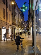 Italy, Piacenza, view to Via XX Settembre in the evening
