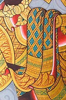 traditional thai style painting on temple wall