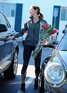 Ashley Greene picks up flowers with her groceries at Bristol Farms Featuring: Ashley Greene Where: Los Angeles, California, United States When: 15 Jan...