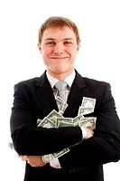 Happy man with dollars.