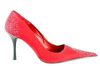 woman red high heel shoe