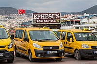 Taxis at the port of Kusadasi, Turkey, Eurasia.