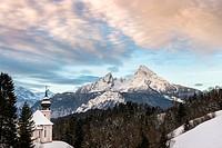 Pilgrimage church of Maria Gern in winter, Watzmann behind, Berchtesgaden District, Bavaria, Germany