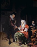 Doctor taking a young woman's pulse, Musscher, Michiel van (1645-1705) / Private Collection / Bridgeman Images