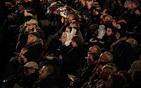 (150415) -- JERUSALEM, April 15, 2015 () -- People attend an annual ceremony marking Holocaust Remembrance Day at the Yad Vashem Holocaust Memorial Mu...