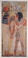The Goddess Hathor placing the magic collar on Seti I (c.1394-1279 BC), taken from the Tomb of Seti I in the Valley of the Kings, New Kingdom (painted...