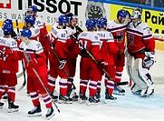 Czech Republic players celebrate after winning the Ice Hockey World Championship Group A match Czech Republic vs Latvia in Prague, Czech Republic, May...