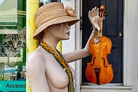 A Mannequin Stands Outside An Antiques Shop, High Street, Lewes, East Sussex, Uk.