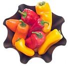 Fresh Sweet Peppers in a Modern Metal Bowl