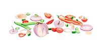 Sliced raw vegetables.