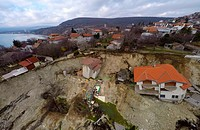An aerial view picture shows destroyed homes caused by a landslide in the town of Balchik, north-east of the Bulgarian capital Sofia Featuring: Atmosp...