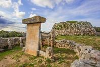 Spain, Balearic Islands, Menorca Island, Trepuco prehistoric remains, taula and talayot.