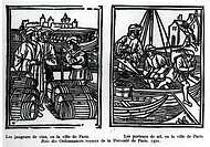 Wine gaugers and salt merchants, 1501 (xylograph) (b/w photo), French School, (16th century) / Private Collection / Bridgeman Images