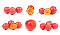 Set of Red Cherry Plums Isolated on White Background