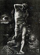 The Conscience or, The Eye Watching Cain, from 'La Legende des Siecle' by Victor Hugo (1802-85) (engraving) (b/w photo), Joliet, Auguste (19th century...