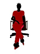 African American Female Roller Skater Sitting On An Office Chair Silhouette