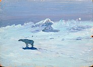 A Polar Bear Hunting in Moonlit Night, 1899 (oil on board), Borisov, Aleksandr Alekseevich (1866-1934) / Arkhangelsk Museum, Russia / Bridgeman Images