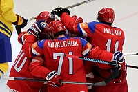 Russian players celebrate the first goal during the Hockey World Championships quarterfinal match Sweden vs Russia in Ostrava, Czech Republic, May 14,...