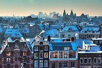 Amsterdam winter skyline